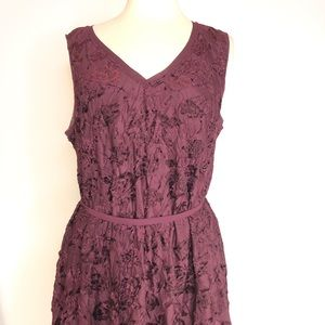 Simply Vera Wang Cranberry Crushed Velvet Dress